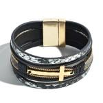 Wholesale faux Leather Snakeskin Cross Magnetic Bracelet Magnetic Clasp Closure