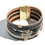 Wholesale faux Leather Rhinestone Druzy Cross Magnetic Bracelet Pearl Accent Mag