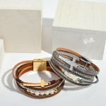 Wholesale faux Leather Pearl Beaded Cross Magnetic Bracelet Rhinestone Details M