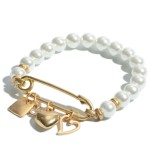 Wholesale pearl Beaded Safety Pin Charm Stretch Bracelet Charms Include Hearts D