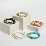 Wholesale pC Natural Stone Cross Stretch Bracelet Set Gold Diameter