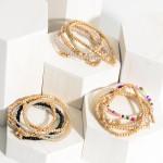 Wholesale set Four Beaded Bracelets Metal Accents Star Details Diameter