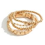 Wholesale set Three Beaded Metal Bracelets Heart Details Faux Pearl Accents Diam