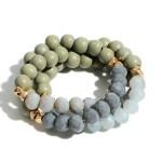 Wholesale set Three Beaded Bracelets Iridescent Accents Gold Details Diameter