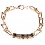 Wholesale metal Chain Bracelet Cubed Letter Beads Spell MAMA Diameter Lobster Cl