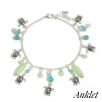 Wholesale silver Anklet Sea Turtle Accents Beaded Details Diameter