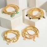 Wholesale set Four Gold Charm Bracelets Beaded Accents Diameter