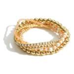 Wholesale set Five Beaded Bracelets Pearl Heishi Bead Accents Diameter