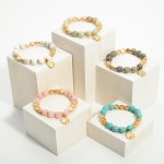 Wholesale beaded Stretch Bracelets Hammered Gold Pendant Diameter