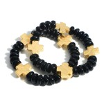 Wholesale set Two Beaded Bracelets Gold Cross Accents Diameter