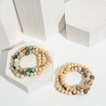 Wholesale set Three Beaded Bracelets Natural Stone Accents Wood Details Diameter