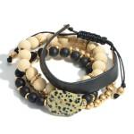 Wholesale set Four Bracelets Wood Beads Gold Faux Leather Details Diameter