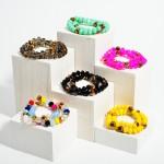 Wholesale set Two Beaded Bracelets Animal Print Accents Diameter