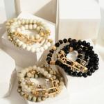 Wholesale set Three Beaded Bracelets Gold Accents Diameter