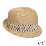 Wholesale c C brand ST fedora hat aztec band paper straw polyester UPF Inside di