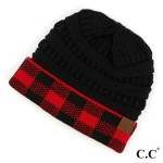 Wholesale c C HAT Buffalo Check Cuff Beanie Acrylic One fits most Matches C C MT