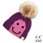Wholesale c C KIDS Kids Smiley Knit Pom Beanie Acrylic Band circumference unstre