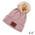 Wholesale c C HAT Geometric cable beanie faux fur pom Acrylic One fits most