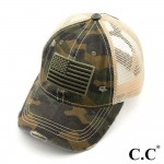 Wholesale c C BT Vintage Distressed Camouflage American Flag Embroidered Basebal