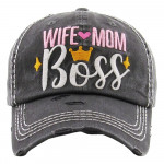 Wholesale vintage distressed baseball cap Wife Mom Boss embroidered details Cott