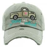 Wholesale jesus Take Wheel Embroidered Vintage Distressed Baseball Cap Cotton A