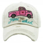 Wholesale jesus Take Wheel Embroidered Vintage Distressed Baseball Cap Cotton A