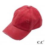 Wholesale c C BT Distressed washed denim ladder ponytail cap One fits most Adjus