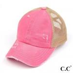 Wholesale c C Pony Cap BT Distressed Criss Cross Pony Cap Mesh Back One fits mos