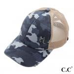 Wholesale c C BT Vintage Distressed Camouflage Criss Cross PonyTail Cap Mesh Bac