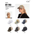Wholesale c C BT Vintage Distressed Camouflage Criss Cross PonyTail Cap Mesh Bac
