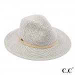 Wholesale c C ST Heather paper straw Panama hat faux suede band One fits most Ad
