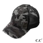 Wholesale c C BT Vintage Distressed Camouflage Criss Cross PonyTail Cap Elastic