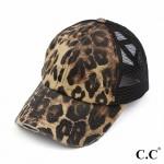 Wholesale c C Pony Cap BT Distressed Leopard Print Criss Cross Pony Cap Mesh Bac