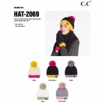 Wholesale c C HAT Sherpa Knit Yarn Pom Beanie One fits most Acrylic Polyester