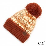 Wholesale c C HAT Metallic Puffy Pom Beanie Cuff One fits most Polyester Acrylic