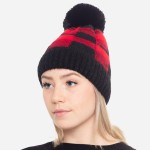 Wholesale faux Fur Lined Buffalo Check Knit Pom Beanie One fits most Acrylic Nyl
