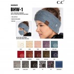 Wholesale c C BHW Fuzzy Lined Cable Knit Headwrap Epoxy Buttons Securing Mask Ma