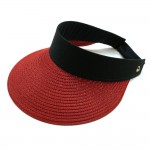 Wholesale paper Straw Roll Up Sun Visor One fits most Adjustable Velcro Closure