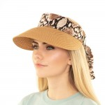 Wholesale paper Straw Roll Up Sun Visor Snakeskin Sasha One fits most Adjustable