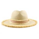 Wholesale paper Straw Panama Hat Aztec Band Raffia Trim One fits most Adjustable