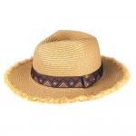 Wholesale paper Straw Panama Hat Brown Aztec Band Raffia Trim One fits most Insi