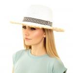 Wholesale paper Straw Panama Hat Black White Aztec Band Raffia Trim One fits mos