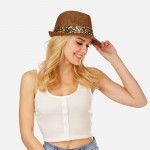 Wholesale women s Paper Fedora Hat Satin Leopard Print Band One fits most Paper