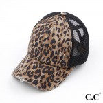 Wholesale c C Pony Cap BT Distressed Leopard Print Criss Cross Pony Cap Mesh Bac