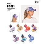 Wholesale c C BT Tie Dye Criss Cross Pony Cap One fits most Cotton