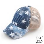 Wholesale c C KIDS BT Kids Criss Cross Pony Cap Mesh Back Star Accents American