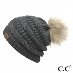 Wholesale c C HAT Solid Ribbed Knit Faux Fur Pom Beanie One fits most Acrylic
