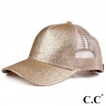 Wholesale c C BT Glittery Trucker Cap Mesh Back One fits most Adjustable Velcro