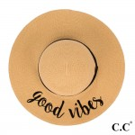 Wholesale c C ST Natural Good Vibes paper straw brim sun hat ribbon One fits mos