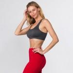 Wholesale women s Active Ribbed Macrame Cut Cut Sports Bra o Scoop Neck o Remova